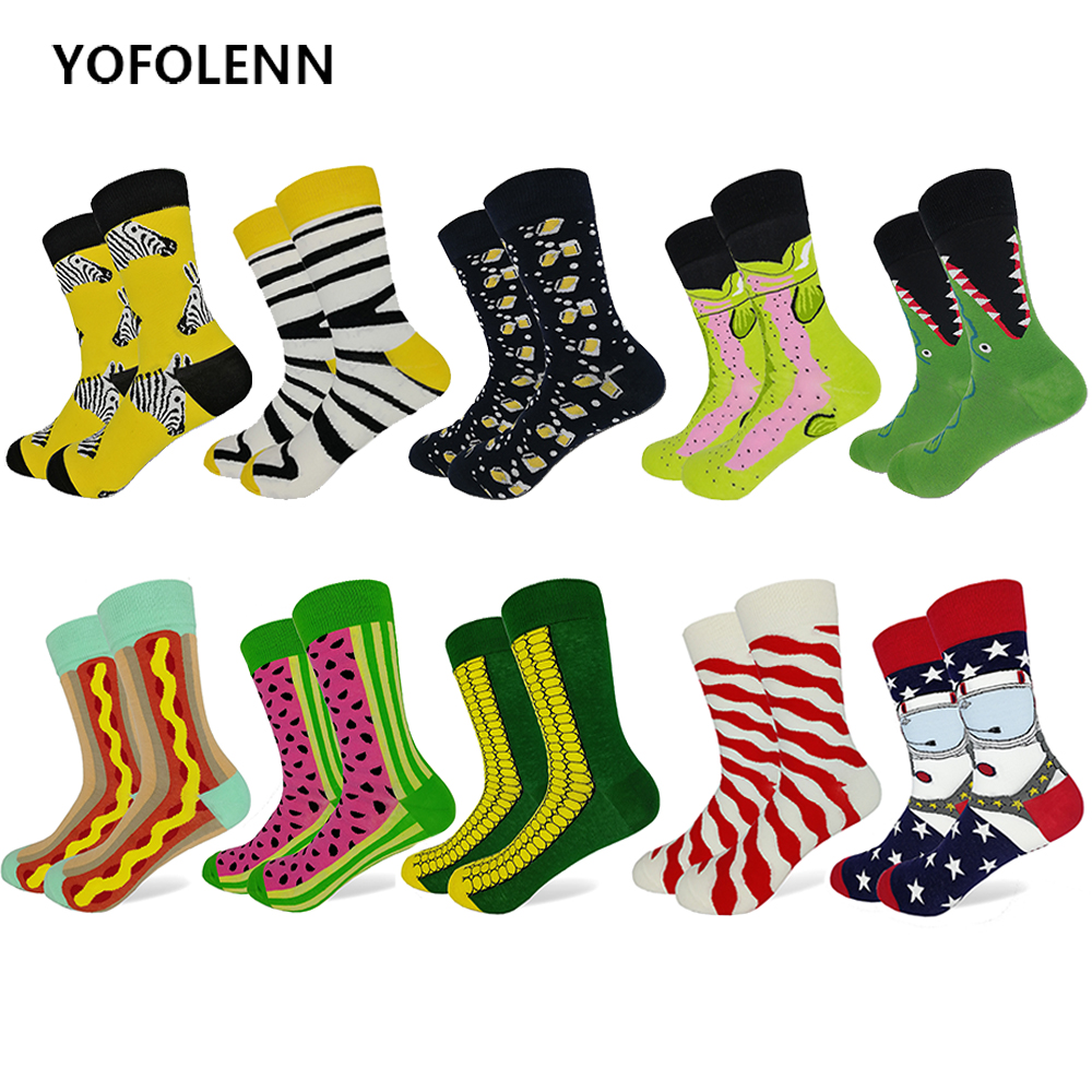 10 Pairs/lot High Quality Combed Cotton Funny Socks for Men 10 Patterns Long Happy Crew Casual Wedding Socks 2018 New Arrival
