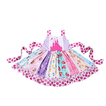 2019 Summer New Baby Girls Dress Fashion Princess Castle Twirl Dresses Childrens Clothes Kids Clothing Boutique 6p510 wholesale baby kids boutique clothing lots