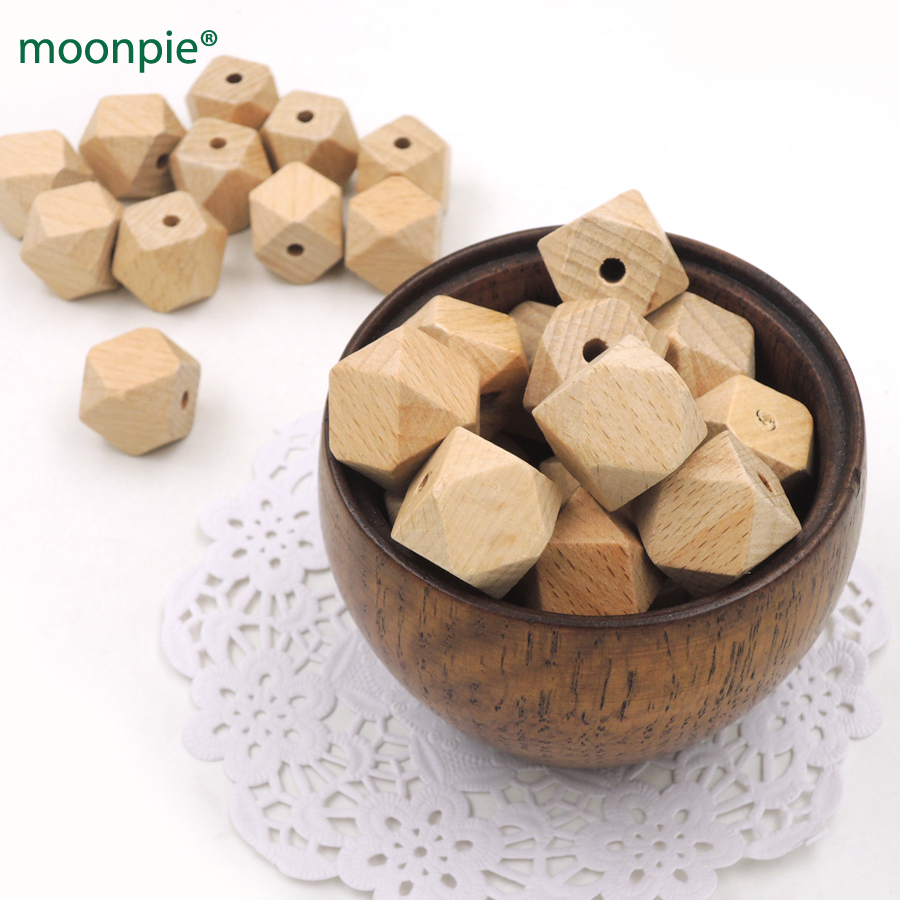 50pcs DIY Germany beech geometric wood bead 20mm organic safe baby accessory teether hexagon wooden beads EA290