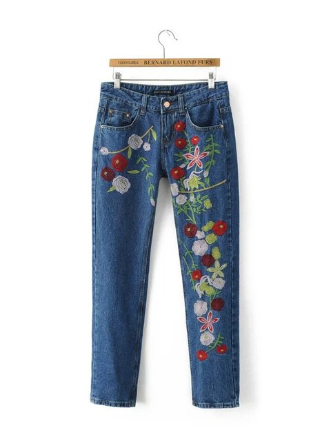 Women Colorful Floral Embroidery Blue Denim Jeans Plus Size Pockets Full length Pants European Style Casual Streetwear Trousers