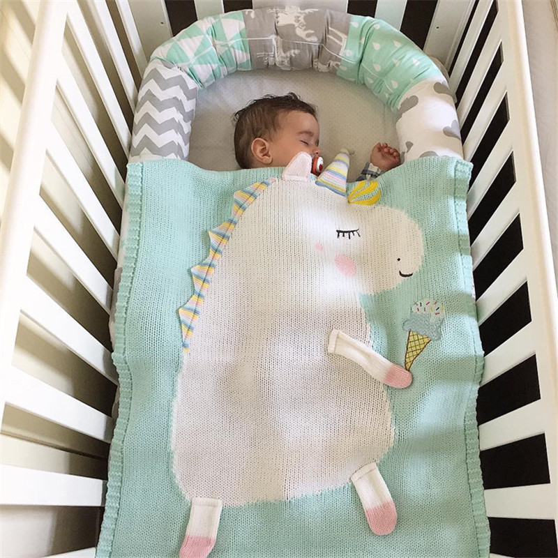 Newborn Baby Blanket Bed Crib Toddler Unicorn pattern Knit Blankets Infant Soft Baby Fleece Pram Crib Blanket size 60*120cm