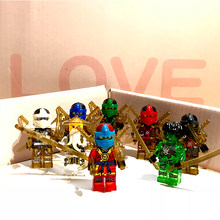 Compatible legoINGs Crystal transparent Ninjago Figures LIoyd Zane KAI JAY COLE ZANE Master Wu Set Building Blocks children toys(China)