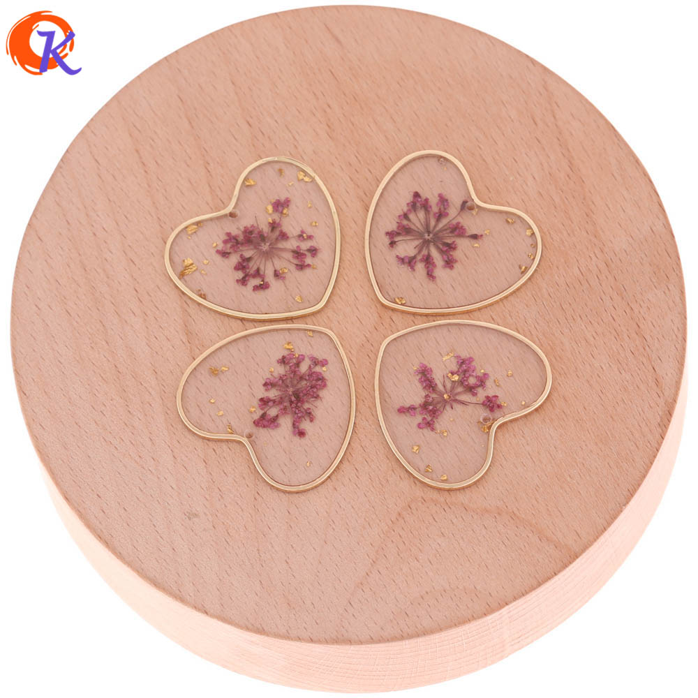 Cordial Design 20Pcs/Lot Earring Findings/Dried Flowers/Copper Ring/Heart Shape/Hand Made Pendant/Earrings Jewelry Accessories