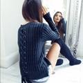 Mulheres Pullover Blusas de Inverno Voltar Bandage Bow Sólidos Slim Fit 2016 Femininas Damen Strick Pullovers Camisola Mujer