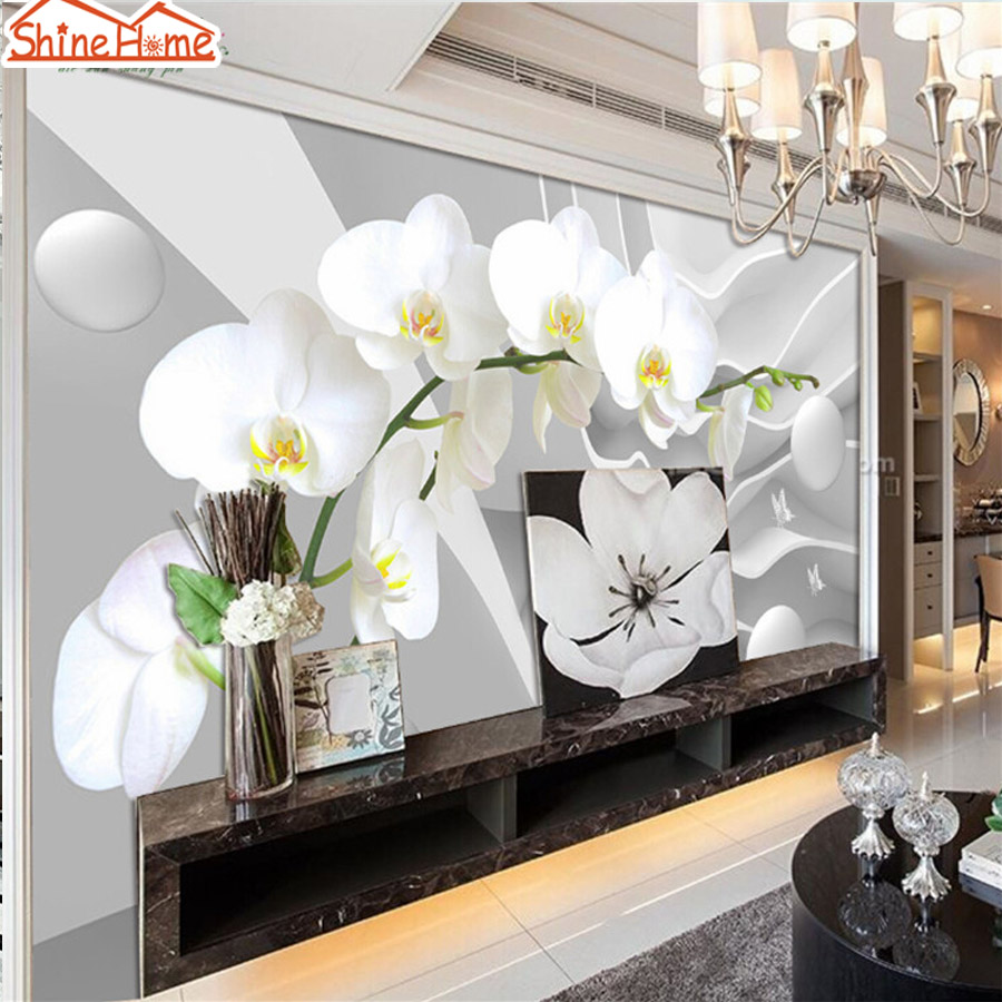 ShineHome-Photo Wallpaper for walls 3 d Murals for Walls Roll Nouveau Orchid Floral Wall Paper Rolls Papel Pintado Pared Rollos shinehome skyline sea wave sunset seascape wallpaper rolls for 3d walls wallpapers for 3 d living rooms wall paper murals roll