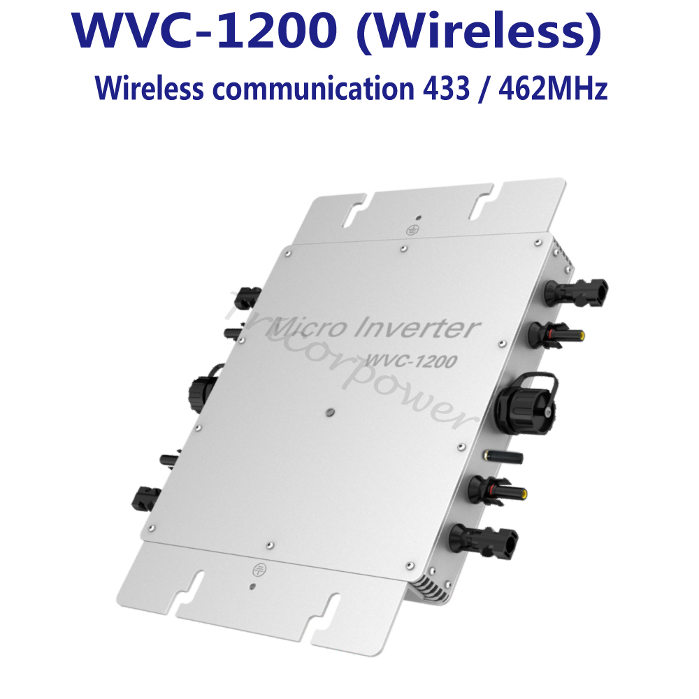 1200 W Grille Tie Inverter avec Sans Fil Communication, MPPT Onde sinusoïdale Pure Énergie Solaire Onduleur 22-50 V DC Entrée