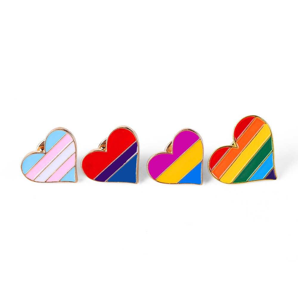 1 adet gökkuşağı kalp emaye pimleri eşcinsel rozeti yaka Denim şapka broş erkekler kadınlar Unisex yaka Pin takı aksesuarları