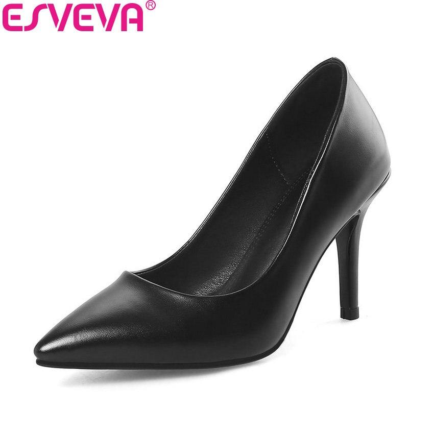 ESVEVA 2018 Slim Look Women Pumps Five Types Heels Shoes PU Pointed Toe Slip on Thin Heels Ladies Shallow Pumps Shoes Size 34-40 pu slip on pointed toe womens pumps