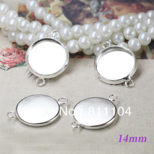 14mm Silver Plated Copper Blank Round Circle Bases Trays 2 Loops Bezels Pendant Bracelet Connector DIY