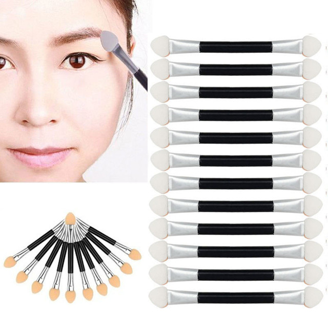 New 12Pcs Makeup Double-end Eye Shadow Eyeliner Brush Sponge Applicator Tool 0806