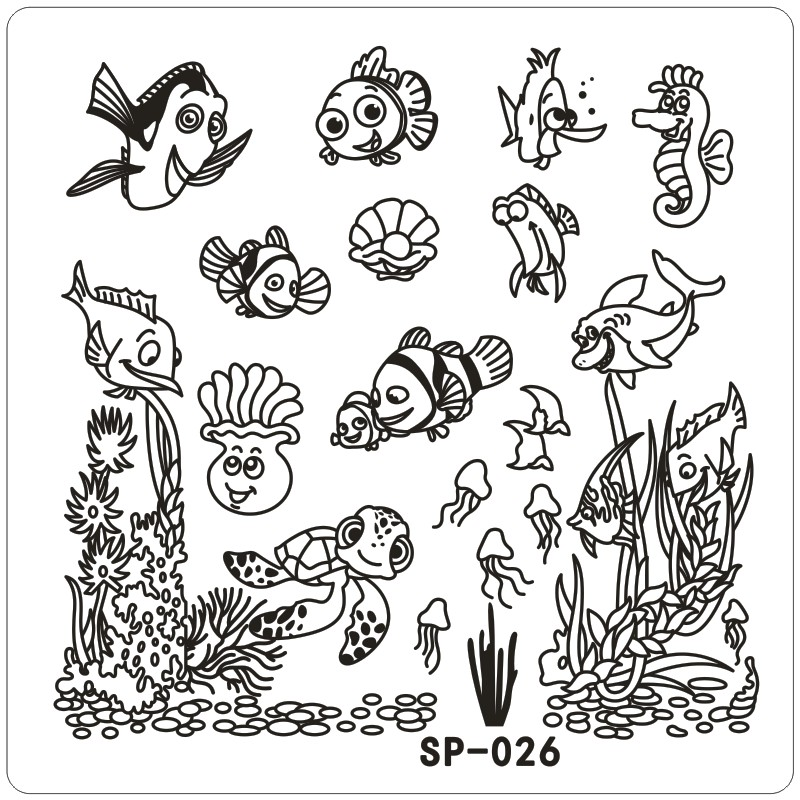 Clown Fish Underwater Word Cartoon Sting Nail Art Kit Template Image Plate 6cm Stencil Tools For Beauty Salon In Hair Clips Pins From Health