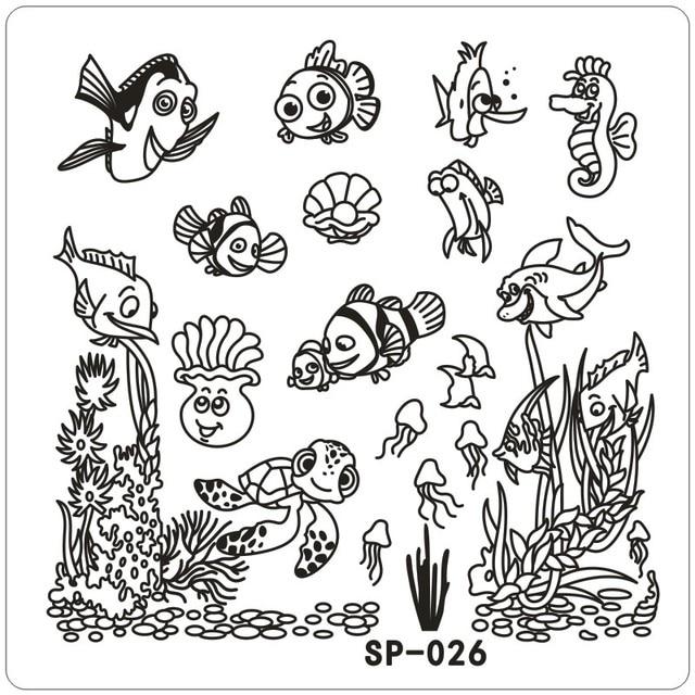 clown fish underwater word cartoon stamping nail art kit template