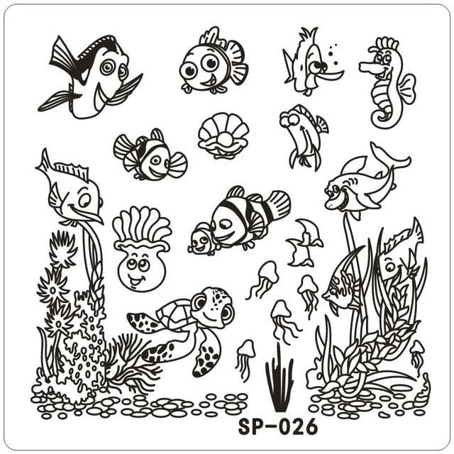 Online Shop Clown Fish Underwater Word Cartoon Stamping Nail Art Kit
