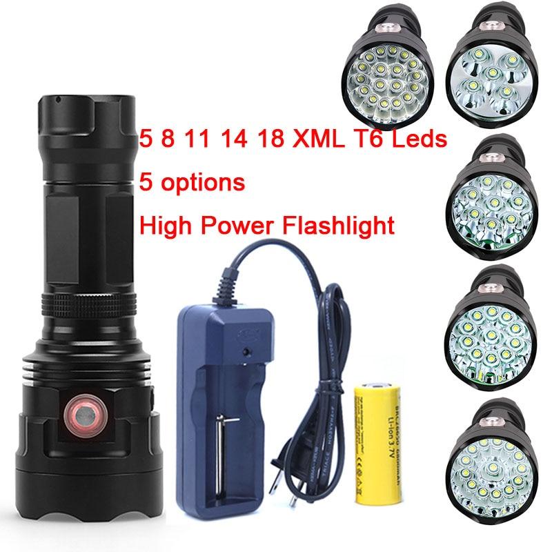 2018 New Powerful 5 8 11 14 18 x XM-L T6 LED Flashlight Torch USB Rechargeable 18650 26650 Battery Hunting Lamp Light Lantern стоимость