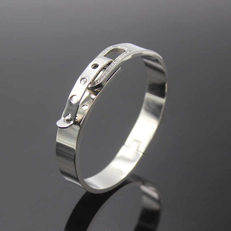 2016 New Fashion Brand Titanium Steel Mens Bangles Belt Buckle Bracelet Men Women Jewelry,The Best gift For Love