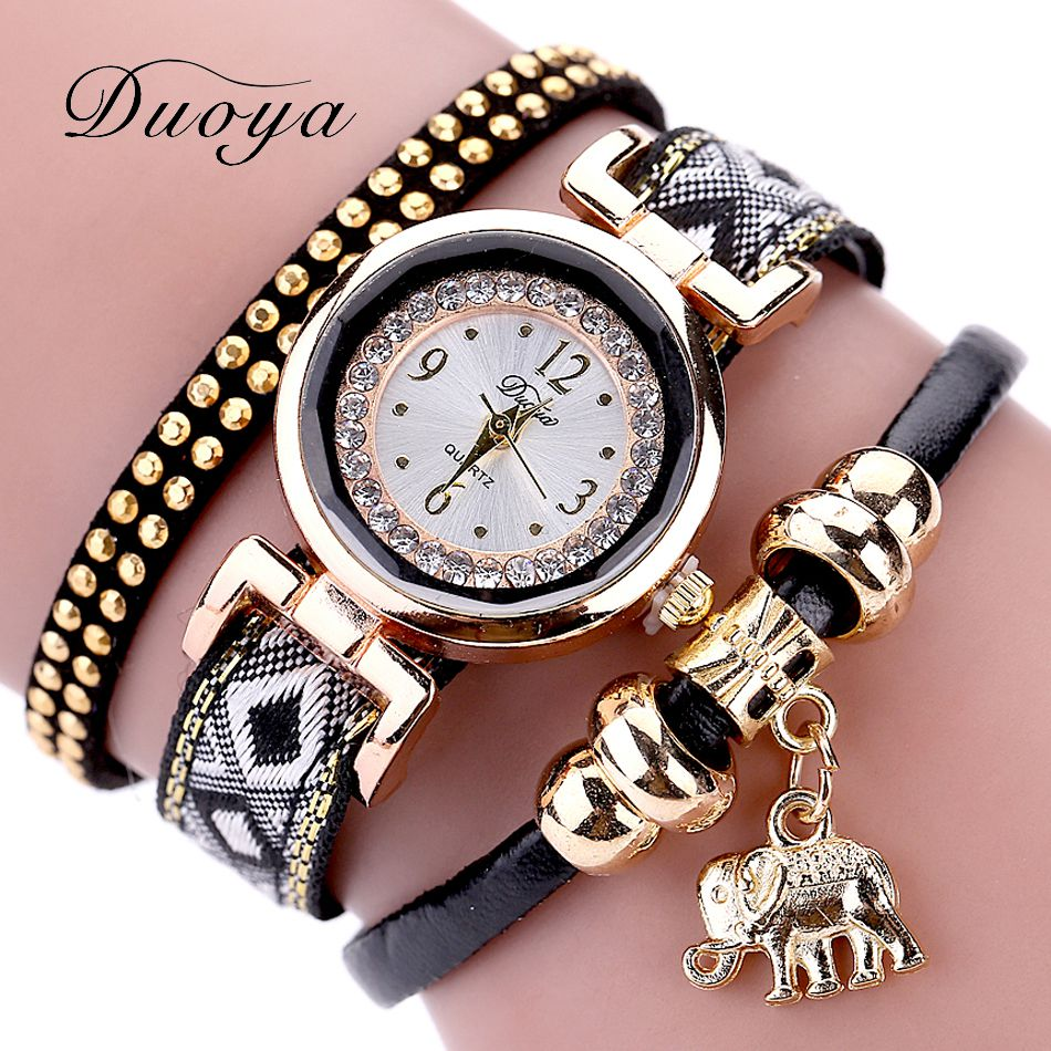 Duoya popular brand watch women 2017 gold elephant pendant luxury bracelet watch lucky female for Watches brands for girl