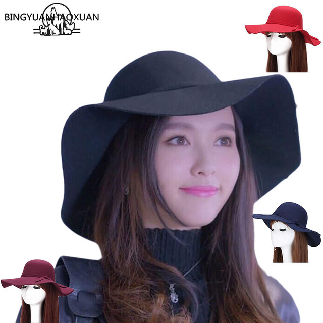 d6b17c4819f BINGYUANHAOXUAN 2017 New Style Soft Women Vintage Wide Brim Wool Felt  Bowler Fedora Hat Floppy Cloche Women s Large Jazz Hats