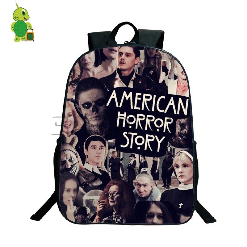 American Horror Story Evan Peters Backpack School Bags For Teenage Boys Girls Daily Backpack Casual Travel Shoulder Bags
