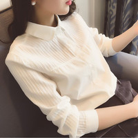 White Blouse Women Work Wear Peter Pan Collar Long Sleeve Cotton Top Shirt Plus Size S