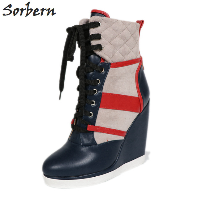 Sorbern Women Wedges Boots Sexy Lace Up Plus Size Ladies Party Winter Shoes Hot Sale Boots Women Botas Mujer Ankle Boots
