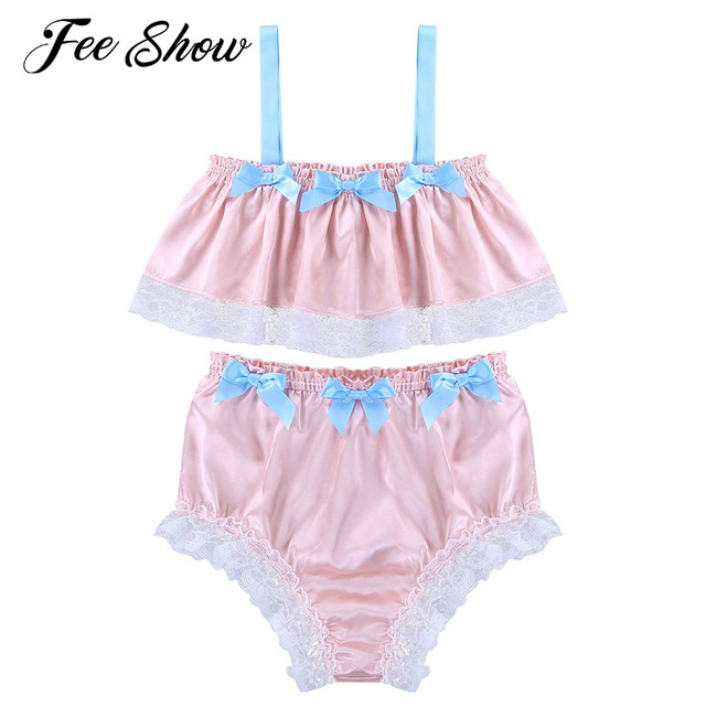 Fashion Mens Sissy Lingerie Set Sleepwear Underwear Soft Silky Satin Lace  Spaghetti Strap Sleeveless Crop Top with Bikini Briefs