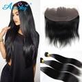 4 Bundlesbrazilian straight virgin hair with frontal Bob Brazilian Straight Hair 4 bundles with brazilian straight lace frontal