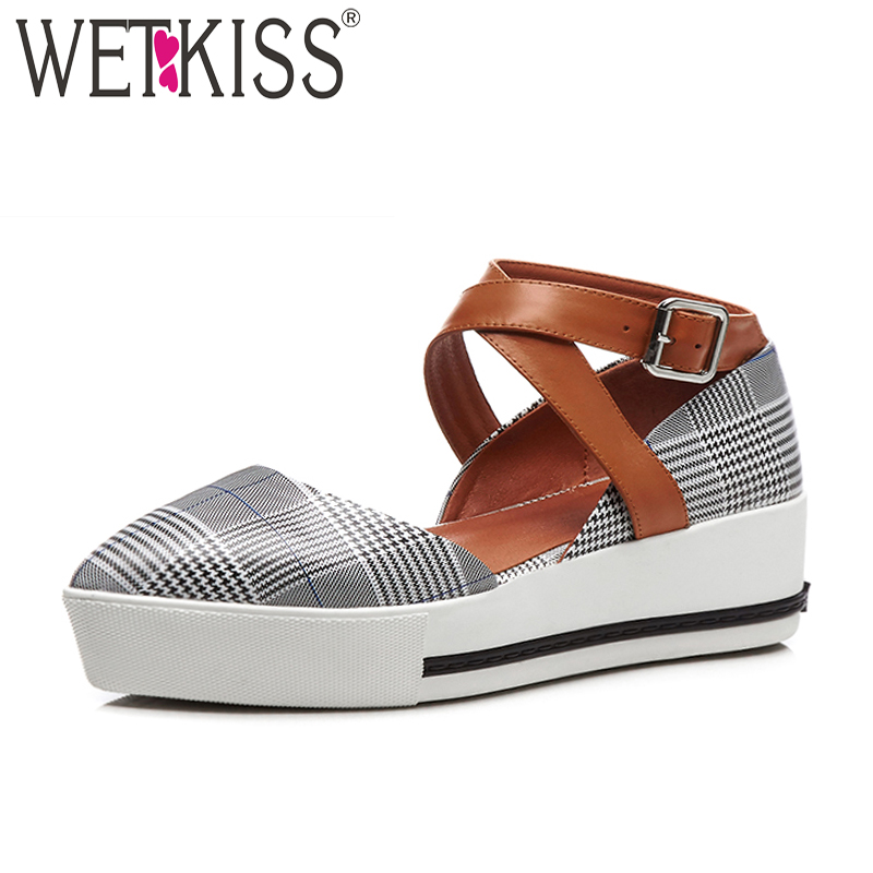 WETKISS Genuine Leather Cross Strap Women Platform Sandals Pointed Toe Plaid Footwear New Fashion Casual High Heels Female Shoes wetkiss new arrival genuine leather pointed toe mules women shoes leisure flats pigskin liner cozy female footwear 2018