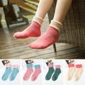 Autumn Winter Girls Thick Cute Turnup Rabbit Wool Cotton Looped pile Socks Pure Color Warm Women Socks