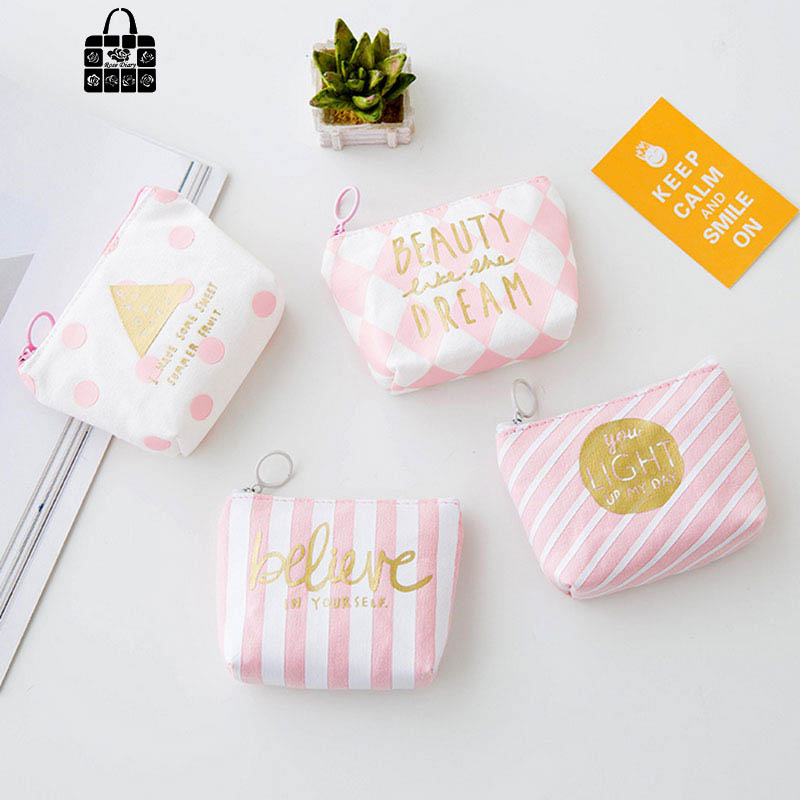 1pcs Rose Diary cute fresh Pink strip canvas coin purses zipper zero wallet child girl boy women purse,lady coin bag key packet brand cute canvas coin purse women rabbit zero wallet teenagers girl vintage style key pouch sweet lady retro coins purses bag