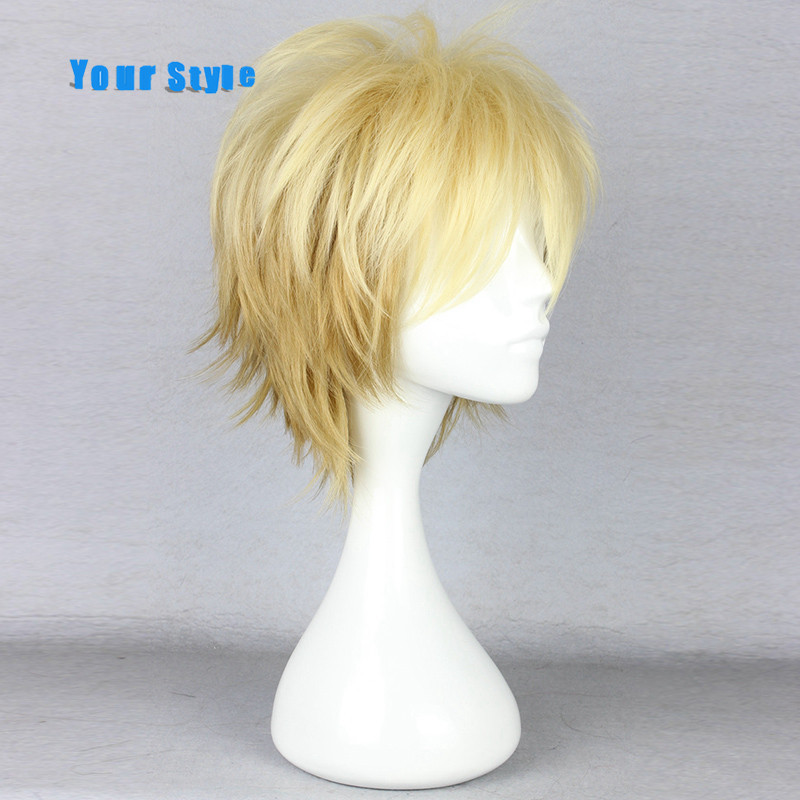 Your Style Short Curly Cosplay Wigs Mens for Party Omber Blonde Color Heat Resistant Synthetic Hair High Temperature Fiber