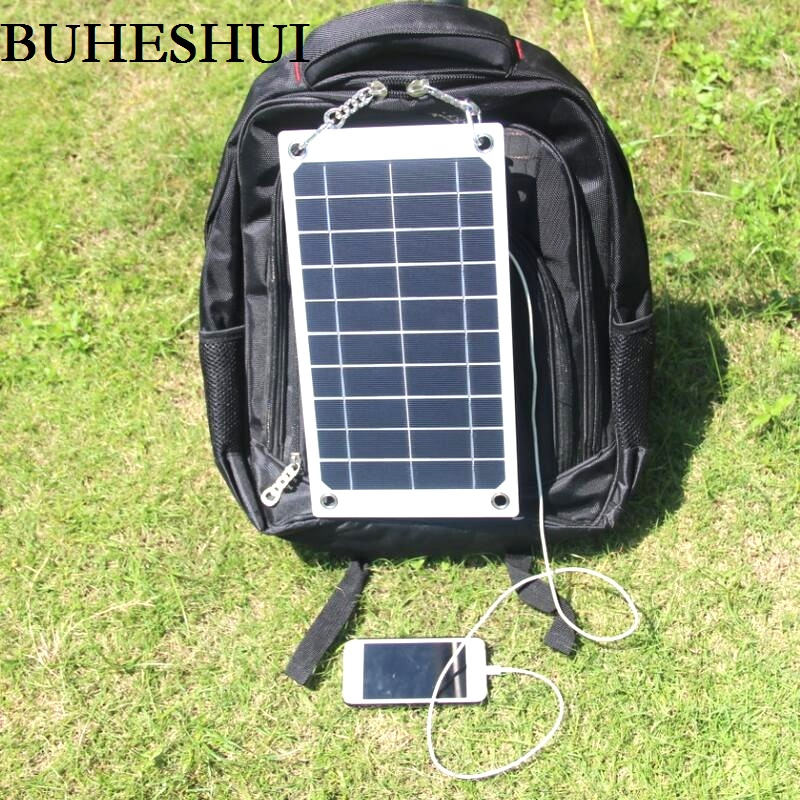 BUHESHUI 7.5W 5V Portable Solar Panel Charger Outdoor USB Digital Frame Style Solar Charger for iPhone Samsung Android 5V Device