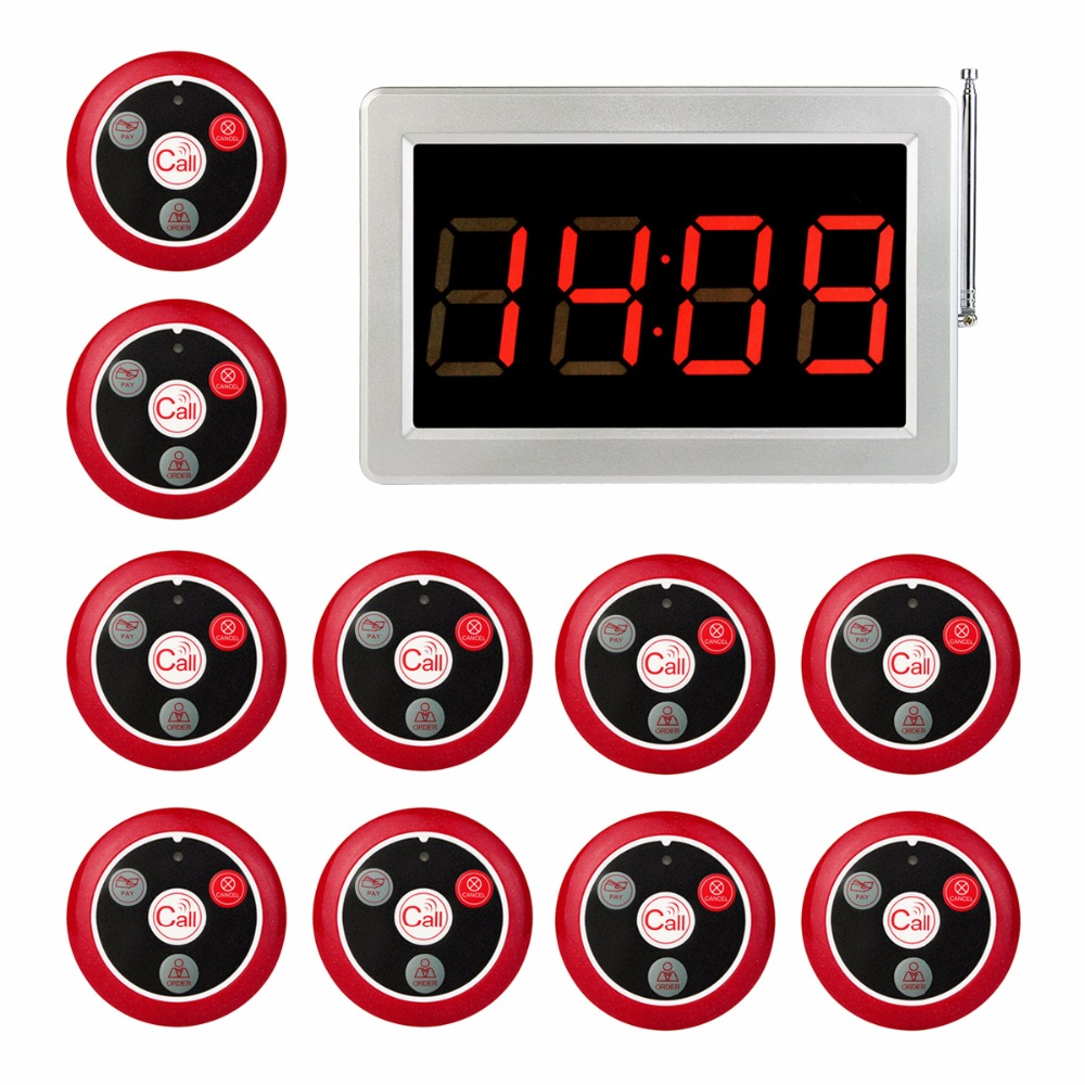 999 Channel RF Pager Wireless Calling Paging System Receiver Display Host +10pcs Call Button Pager Restaurant Equipment F3285 tivdio 999 channel wireless restaurant calling paging system waiter call bell pager 3 watch receiver 15 call button f3287b