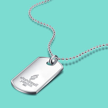 Men's classic army card 925 sterling silver necklace pendant 2.5 mm round bead necklace Fashion silver ornaments gift for boy