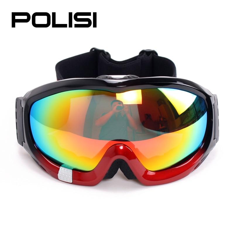 ФОТО POLISI Men Women Snow Ski Goggles Winter Double Layer Anti-Fog Lens Skiing Protective Eyewear Polarized Snowboard Skate Glasses