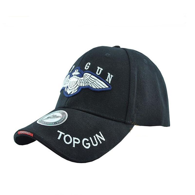 Top Gun Sport Baseball Capul în vârf Cap Hat Outdoor Travel Sun Bike Hat negru / tan gratuit de transport maritim