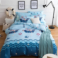 FADFAY Blue Ocean 100 Cotton Hypoallergeni Boys Bedding Sets For Kids Twin/Full/Queen Size Cartoon Duvet Quilt Cover Sets 4pcs