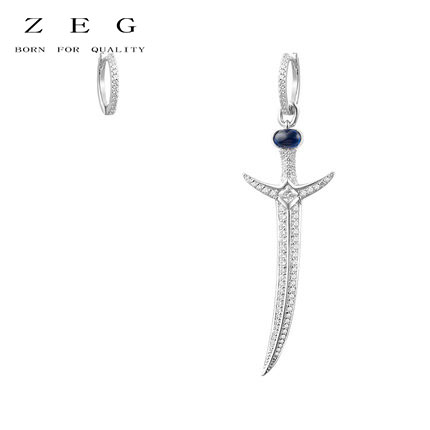 ZEG High Quality Original 1:1 Lnlaid With Diamond Asymmetric Sword Earrings Luxury Earrings Women Jewelry ...
