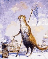 MaHuaf W382 City Cat Acrylic Paint By Numbers Oil Painting Gift Coloring By Numbers Frameless Picture