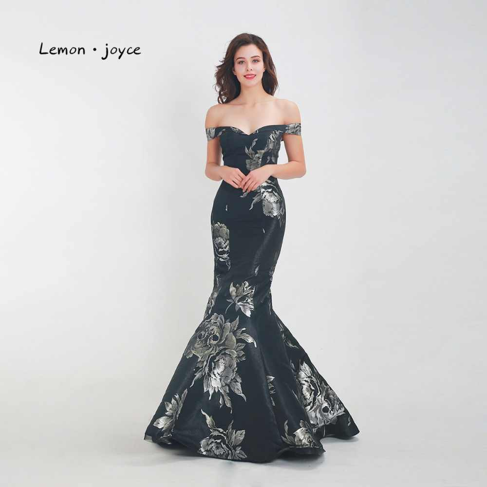 47bfe3de49 Lemon joyce Black Evening Dresses Long 2019 Formal Off the Shoulder Simple  Mermaid Floor Length Prom Party Gowns Plus Size