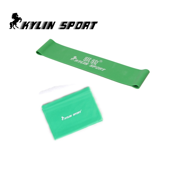 Set of 2 green latex resistance workout excercise pilates yoga bands loop wrist ankle el ...