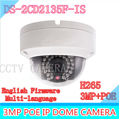 Multi-language version DS-2CD2135F-IS 3MP CCTV camera POE, mini dome IP security camera H.265 multi language ds 2cd2135f is 3mp dome ip camera h 265 ir 30m support onvif poe replace ds 2cd2132f is security camera