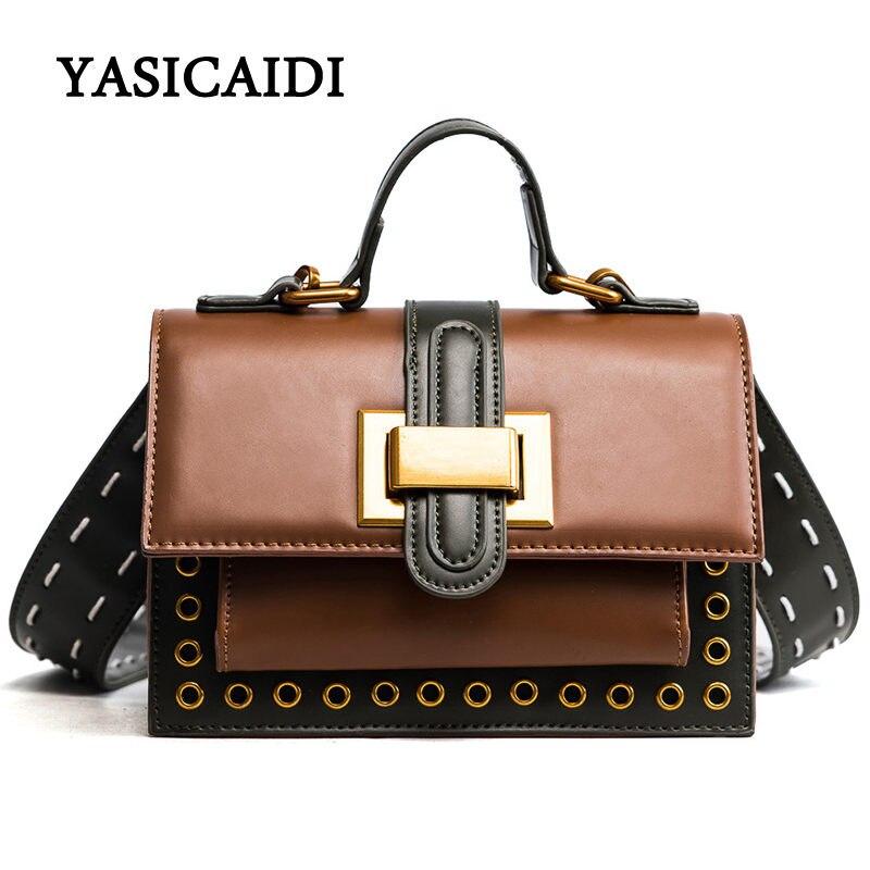 New Arrive Luxury Women Messenger Bags Rivets Women Crossbody Bag High Quality Solid PU Leather Women Handbag Soft Flap Bags
