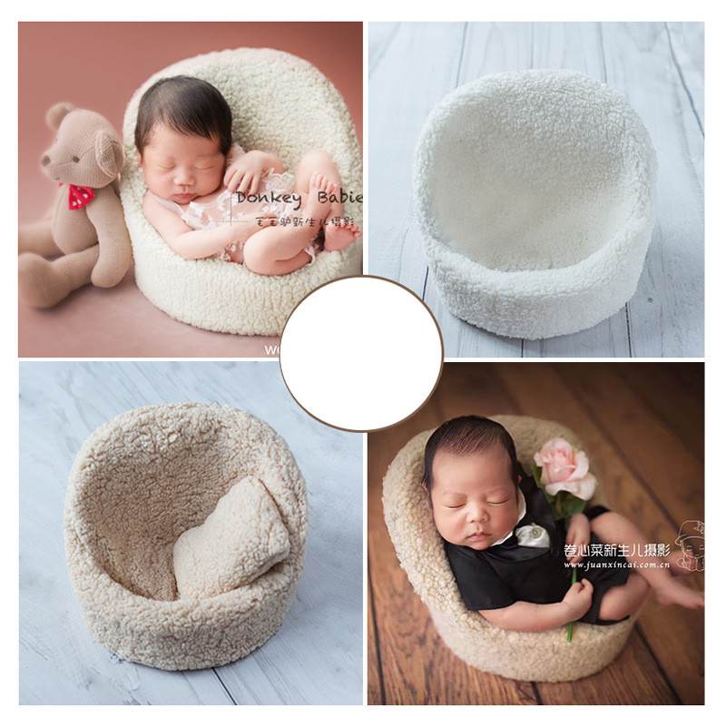 High Quality Flokati Newborn Photography Sofa Bebe Photo Shoot Accessories Basket Prop for Studio Baby Posing Sofa with Pillow  High Quality Flokati Newborn Photography Sofa Bebe Photo Shoot Accessories Basket Prop for Studio Baby Posing Sofa with Pillow