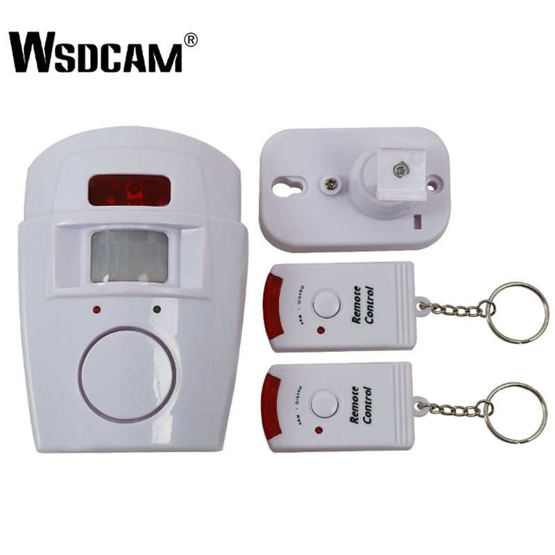 Wsdcam Motion Sensor Alarm Wireless Home Garage Caravan 2 Remote Controls Security PIR Motion Detectors For Home Caravans