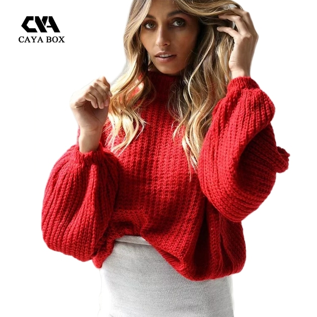 CAYA BOX Red Women Turtleneck Lantern Sleeve 2017 Autumn Winter Sweaters Kinitted Tops Women Clothings For Ladies