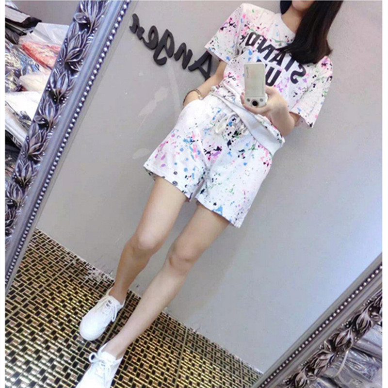 17 Summer Women's Sets Short Sleeve Printed T Shirt + Shorts Sweat Suits Women Tracksuits Camouflage Suit Two Piece Sets 8