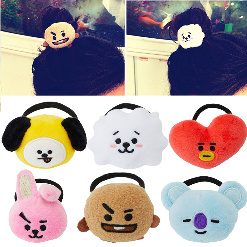 1 Piece Kpop Bts Bt21 Lovely Cartoon Animal Elastic Hair Bands For Girls Lady Ponytail Rubber Band Hair Ties Rope Accessories Girl's Hair Accessories Girl's Accessories