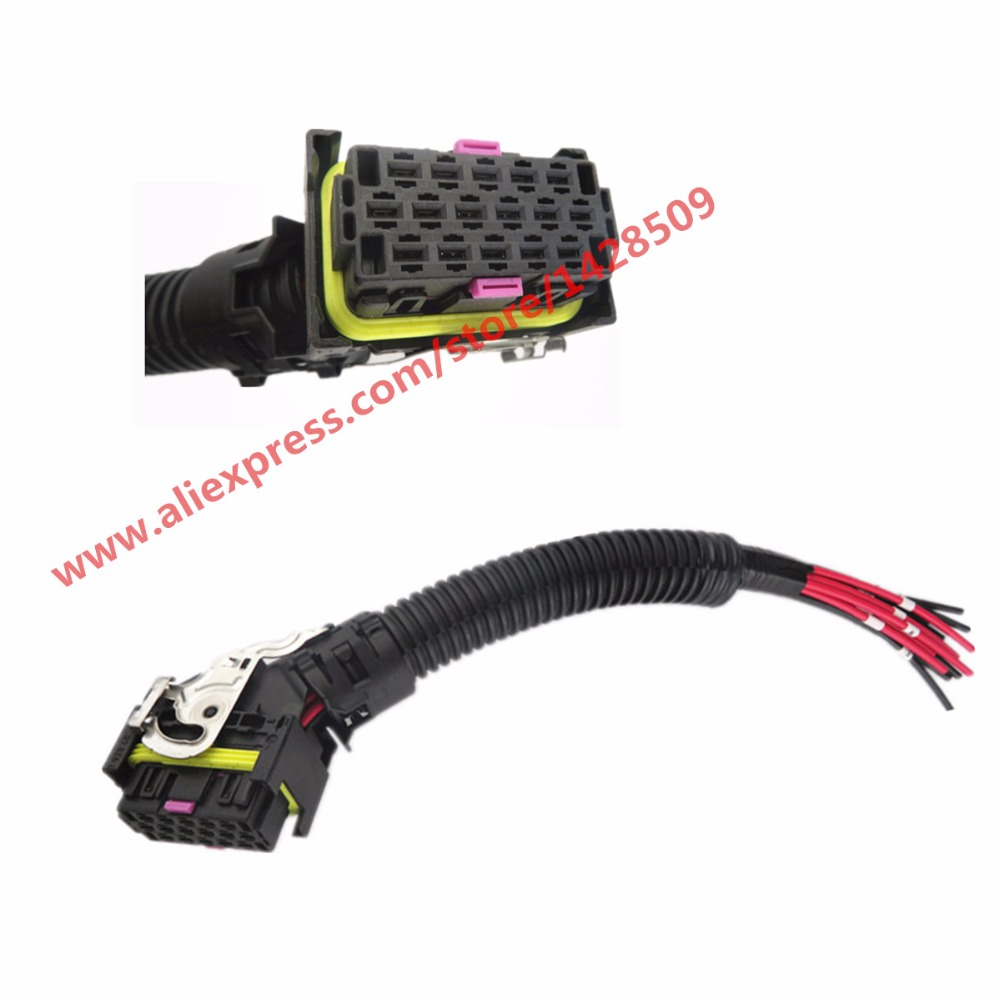 EDC7 16 Pins PC Board ECU Socket Automotive Injector Module Plug Wiring Connector For Bosch edc17 edc16 automotive ecu plug 94 pin way pc board socket with wiring harness for bosch