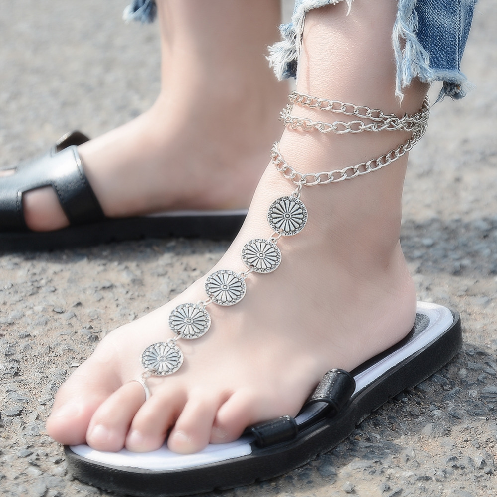 1Pc Summer Vintage Ankle Bracelet Round Carving Flower Coins Anklet Barefoot Sandals Foot Jewelry Anklets For Women To Beach