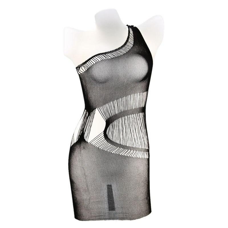 Women Black Perspective Sexy One Shoulder Kilt Dress Lingerie Badydolls Sleepwear Female Erotic Nightdress Underwear Hot Sell
